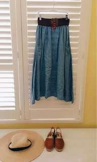 🚚 我的法式優雅 牛仔色系棉料口袋長裙