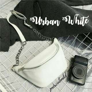 Brand New Urban White Leather Belt Bag Body Bag