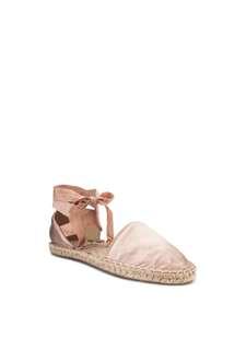 🚚 時尚Mango粉嫩裸膚色緞面芭蕾綁帶草鞋
