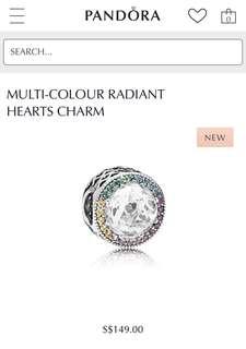 Authentic Pandora Multicolour Radiant Hearts Charm PO