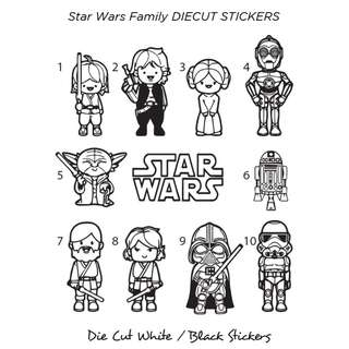 🚚 Star Wars Family Die Cut Stickers (Weatherproof)