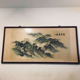 萬里長城 湘繡畫