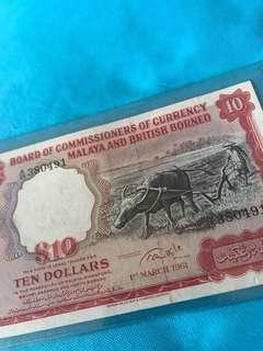 1961 Malaya and British Borneo $10