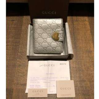 Gucci RRP $550 Silver Grey Love Heart Bifold Compact Wallet Purse Authentic!