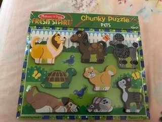 BNIP Melissa & Doug chunky wooden puzzle - pet