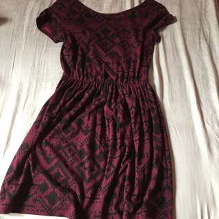 Topshop dress maroon with black pattern