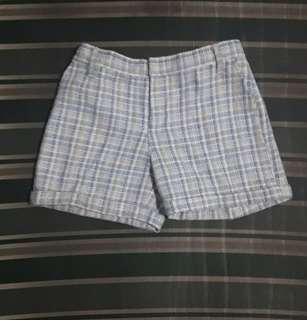 For Me Blue and White Checkered Shorts