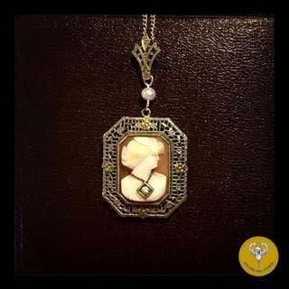 Art Deco 14K金鑲鑽八角型貝殼浮雕Cameo吊咀銀鍊