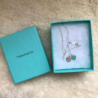 Tiffany & Co Double Heart Mini Blue Enamel