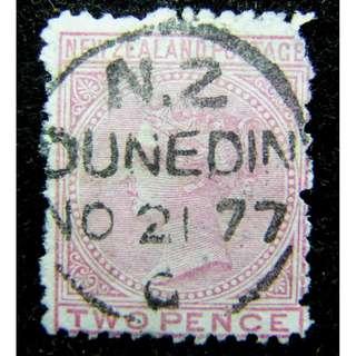1877年英屬紐西蘭(New Zealand)英女皇維多利亞像2便士郵票(蓋銷丹尼丁城郵戳)