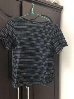 Zara dark blue crop t-shirt