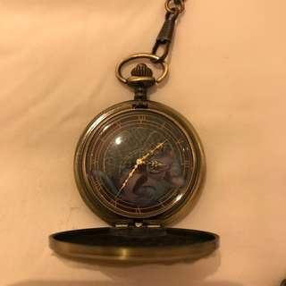 Alice In The Wonderland Vintage Watch Bronze Gold Chain