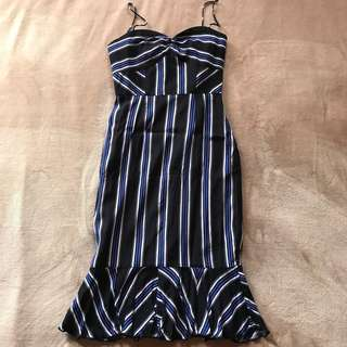 Love Bonito Blue Stripe Flare Dress