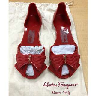 Salvatore Ferragamo RRP $395 Red Barbados Ribbon Jelly Flats Shoes AU 5 EUR 35 Authentic!