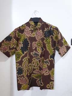 BATIK FORMAL SHIRT DAUN HIJAU COKLAT