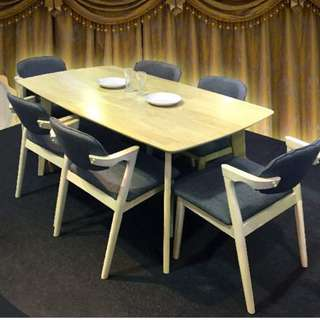 Clearance stock for 6 seater full solid rubberwood- limited set only