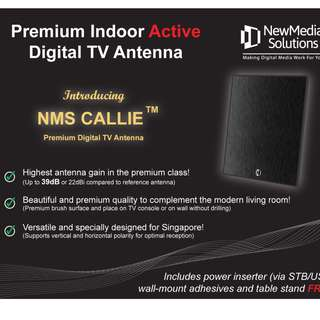 Premium Indoor Active Digital TV Antenna (3 meter cable length, Black)