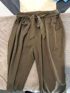 Khaki long high waisted pants