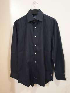 BLACK FORMAL SHIRT BLUE STRIPE