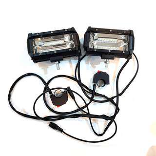 LED Fog Light (12V 9600 Lumens 30W) (1 Pair) With Wired and On/Off Switch for Escooters / Ebike