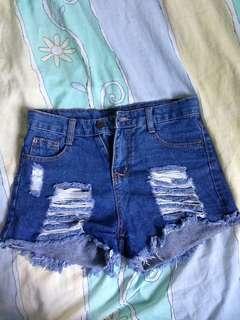 Tattered High Waist Short (Jeans)