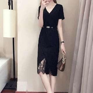 #省錢團購服飾  77722 #新款短袖中長款蕾絲氣質黑裙  颜色: 黑色   尺码: S M L XL