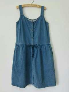 🚚 藍色丹寧抽繩單排扣背心裙(共兩色)