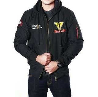 jaket boomber hoodie Zurrel hitam