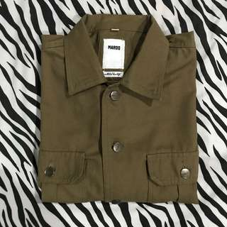 Maroo co broen trucker jacket casual coklat sz xl