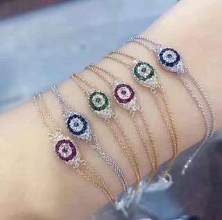 18k紅寶/藍寶/祖母綠鑽石手鏈