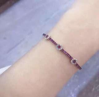 18k紅寶鑽石手鏈