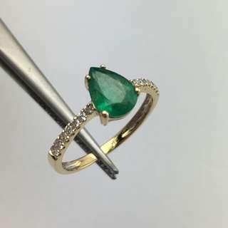 18K黃金戒指 1卡綠寶 18份鑽石 18K Gold Ring 1.00ct Emerald 0.18ct Diamond  可議價