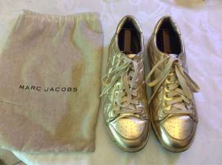 Preowned Marc Jacobs Quilted Lamb Nappa Gold Metallic Leather Sneakers Shoes 43