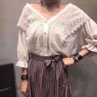 🚚 正韓 米色蕾絲襯衫上衣