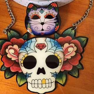 Sugar Skull Necklace/ Cat Brooch