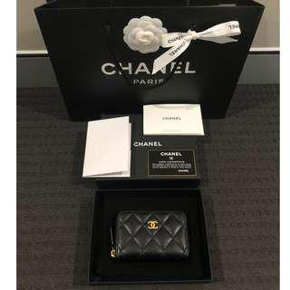 Chanel Zip Coin Purse Wallet Card Holder Black Matte Caviar Gold Hardware Authentic!