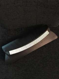 Black diamanté satin clutch