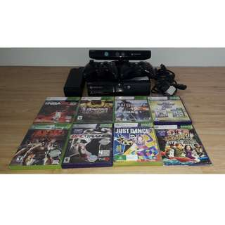 Xbox 360 E console 250 GB Model 1538 with Kinect including all games and batteries.