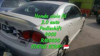 Honda civic fd 2.0 auto Padleshift 2008