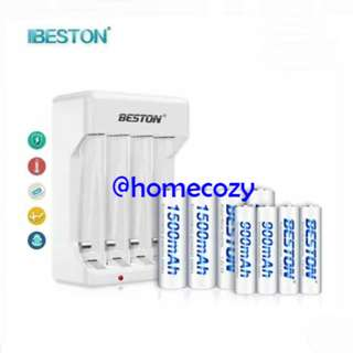 (BN) BESTON AAA & AA Rechargeable Battery Packs with Charger (Brand New)