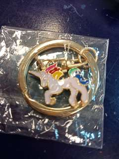 Shiny rainbow unicorn key chain