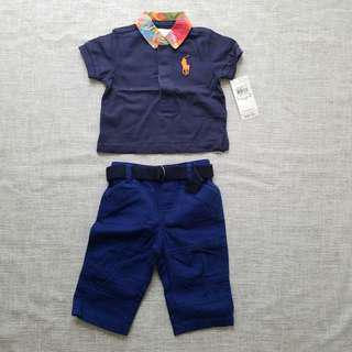 Polo 男BB 套裝長褲 藍色 (三個月合適 3M)