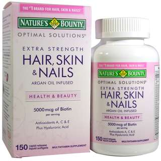 Nature's Bounty Optimal Solutions Hair Skin Nails Extra Strength  // 150 Rapid Release Liquid Softgels