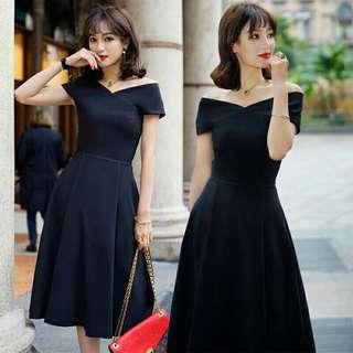 Korean Fashion Simple Plain Color Plus Size A Line Midi Dinner Party Dress #70fashion