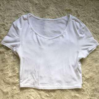 Plain White Crop Tee Size XS
