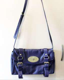 Mulberry leather Crossbody bag purple 紫藍色真皮斜咩手袋