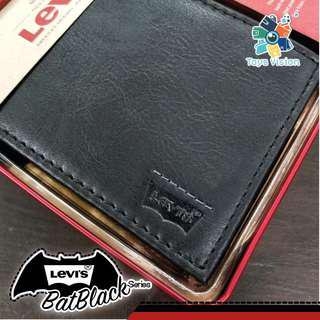 全新 Levi's Dot-line Leather Mens' Wallet 真皮銀包, 黑色