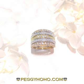 【Peggyhoho】 全新18K三色1卡46份閃爆真鑽石戒指| 粗身系列 |5層立體條戒HK11號