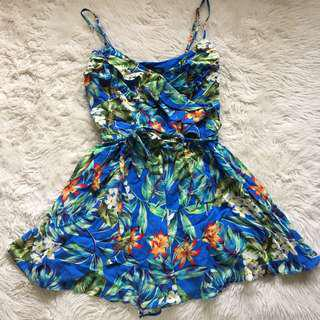 Forever New Tropical Frill Playsuit Size 6