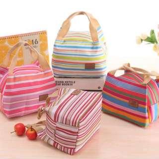Lunch bag Cooler Bag Motif Salur - Merah Muda